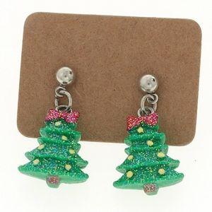 Christmas Tree dangle earrings pierced